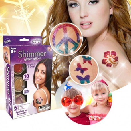 Dočasné farebné tetovanie s trblietkami Shimmer glitter tattoos