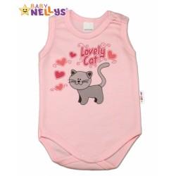 Body na ramienka Baby Nellys Roztomilá mačička sv. ružova