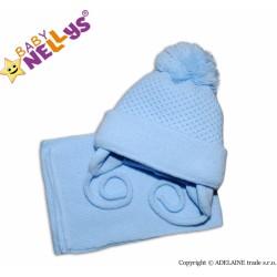 Zimná čiapočka so šálom modrá s veľkou bambuľkou