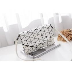 Geometrická kabelka - lesklá biela