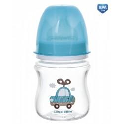 Antikoliková fľaštička so širokým hrdlom Canpol Babies EasyStart - TOYS 120 ml - modrá