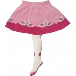 YO! Bavlnené pančucháčky so sukničkou - bielo/ružové s labuťou