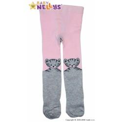Bavlnené pančucháče Baby Nellys ® - MAČIČKA sv.ružová / sv. šedá