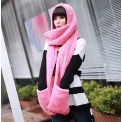 Šál s kapucňou a rukavicami 3v1 ružový