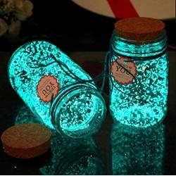 Svietiaca sklenená fľaša - biela/tyrkysová